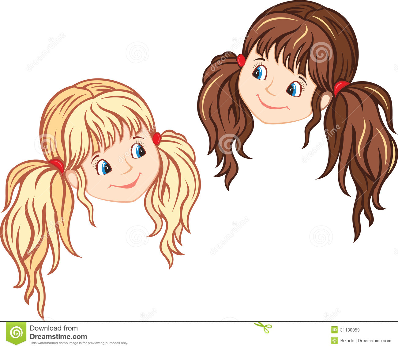 Little Girl Faces Stock Vector Image Of Baby Hair