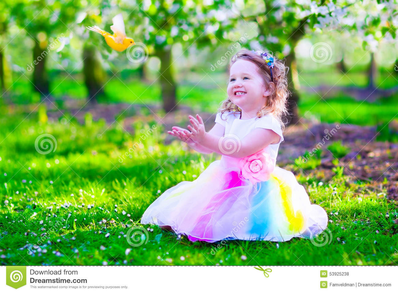 21d25c26813 Little Girl In Fairy Costume Feeding A Bird Stock Photo - Image of ...