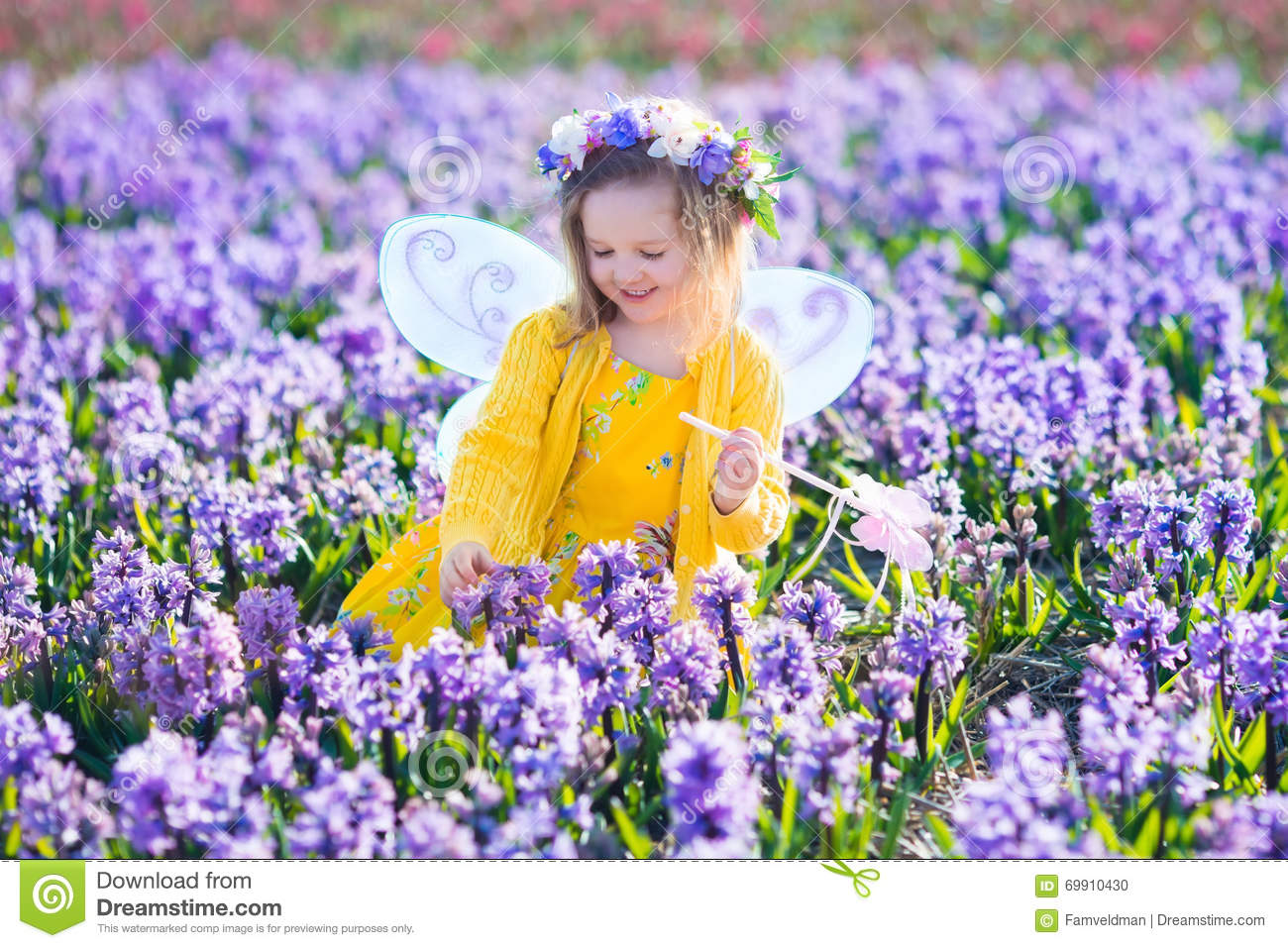 Exceptional Beautiful Girl Playing In Blooming Hyacinth Flower Field. Kids Princess  Birthday Party With Fairy Costume, Butterfly Wings And Magic Wand.