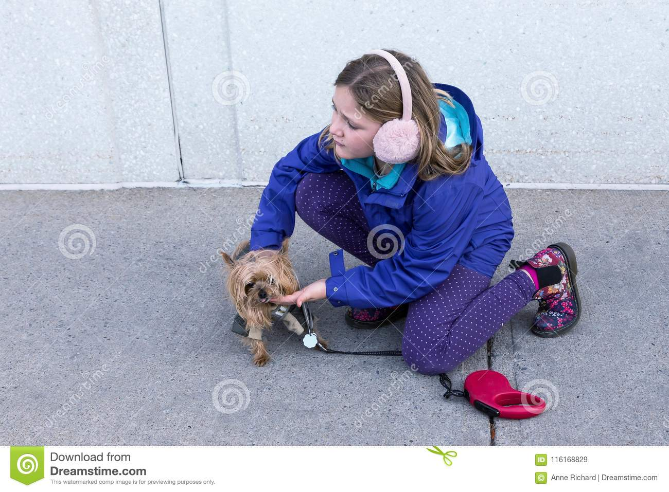 Little Girl In Fall Jacket And Ear Muffs Crouching To Pet