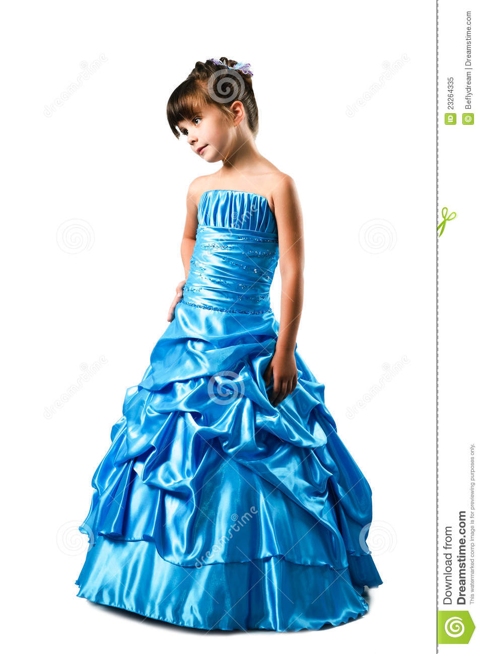 Little Girl In Fancy Dress Isolated On White Royalty Free Stock ...