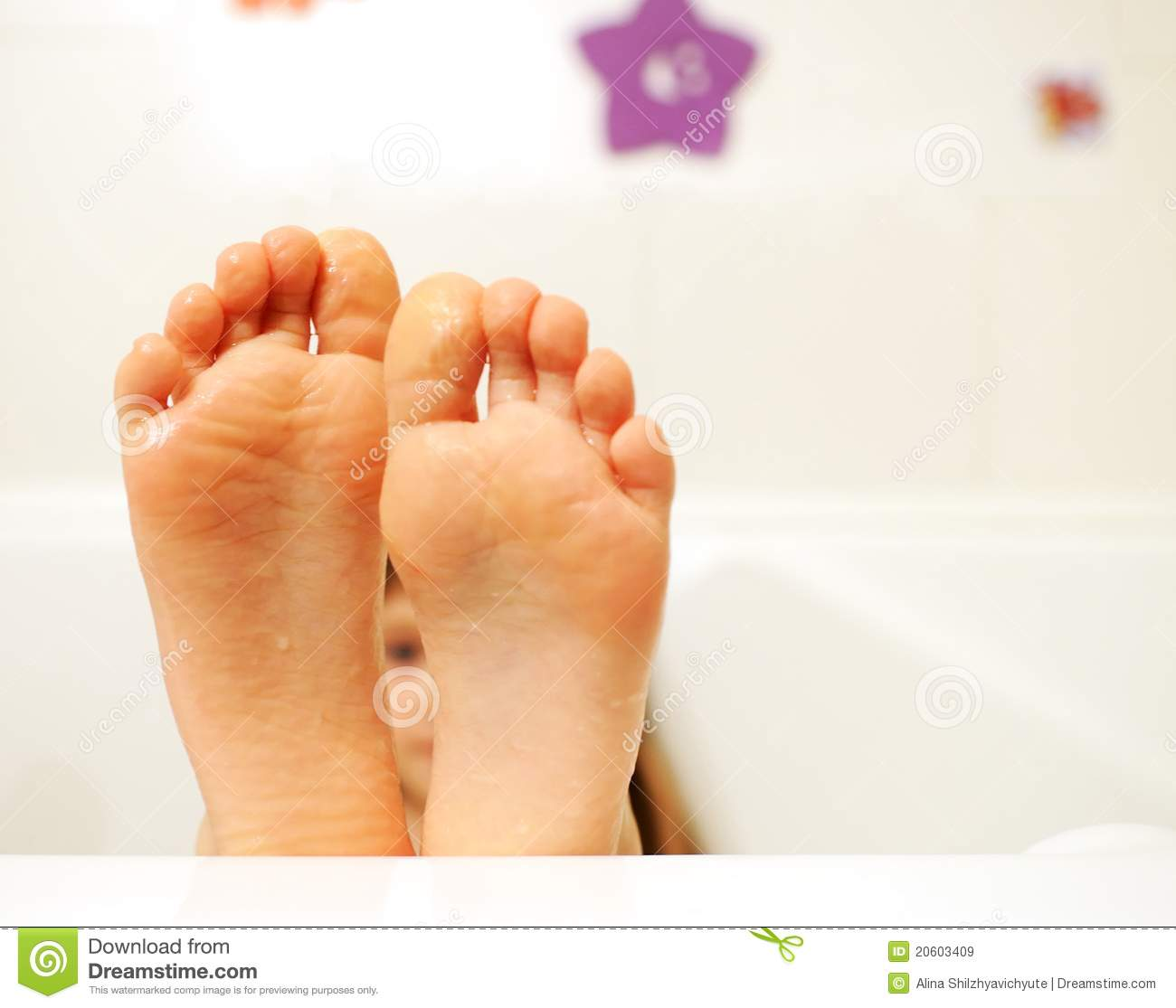 Little Girl Feet Covered With Water In The Bathtub Royalty Free Stock ...