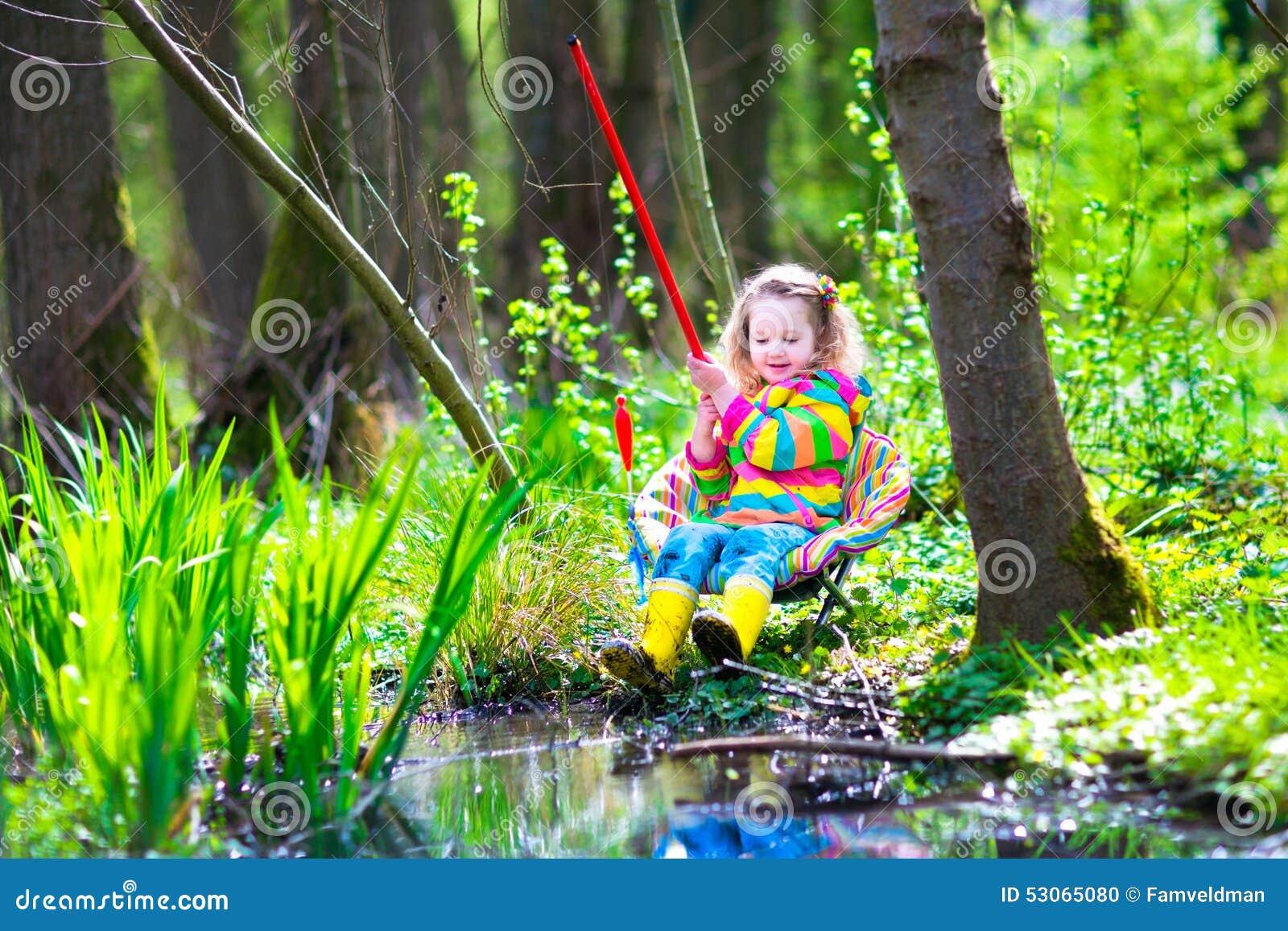 Little girl fishing stock photo image 53065080 for Little kid fishing pole