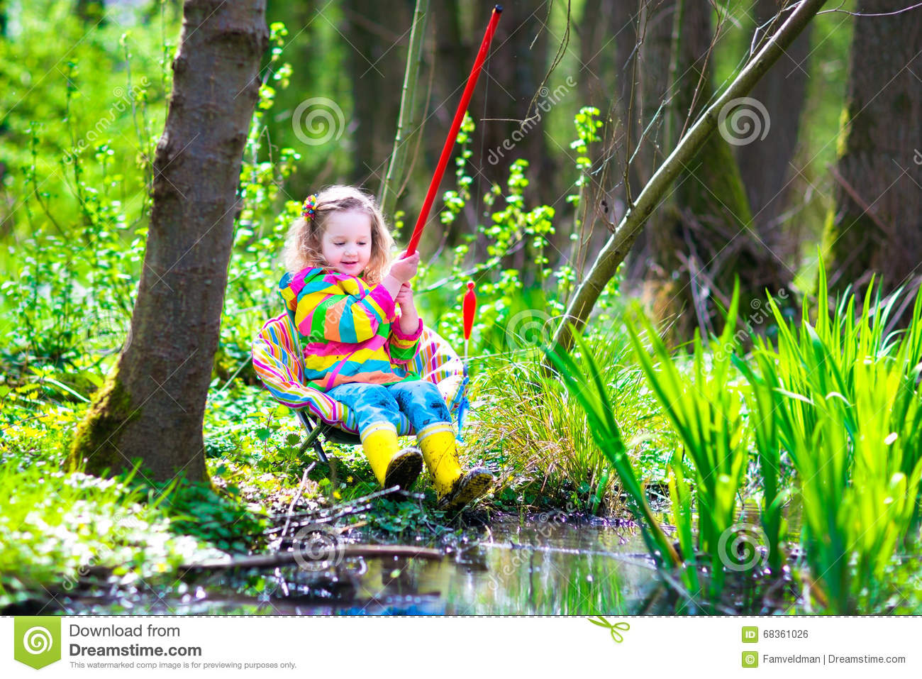 Little girl fishing stock photo image 68361026 for Little girl fishing pole