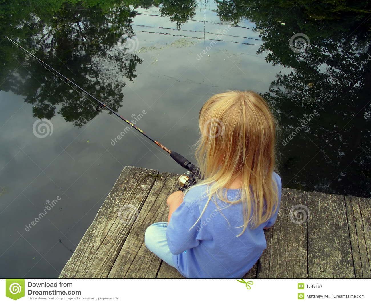 Little girl fishing from a dock royalty free stock for Little girl fishing pole