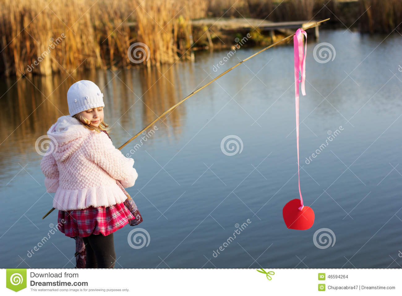 Little girl fishing from dock on lake royalty free stock for Little girl fishing pole