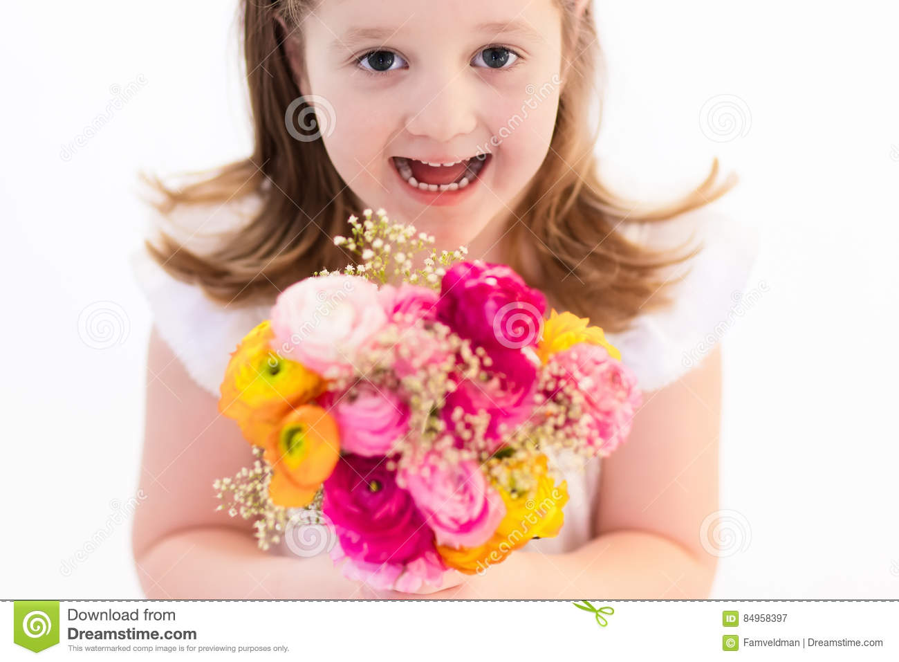 Little Girl With Flower Bouquet Stock Image Image Of Bride
