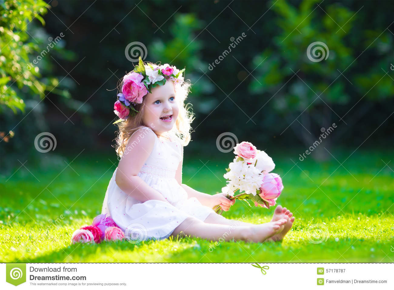 Little Girl With Flowers Stock Image Image Of Family 57178787