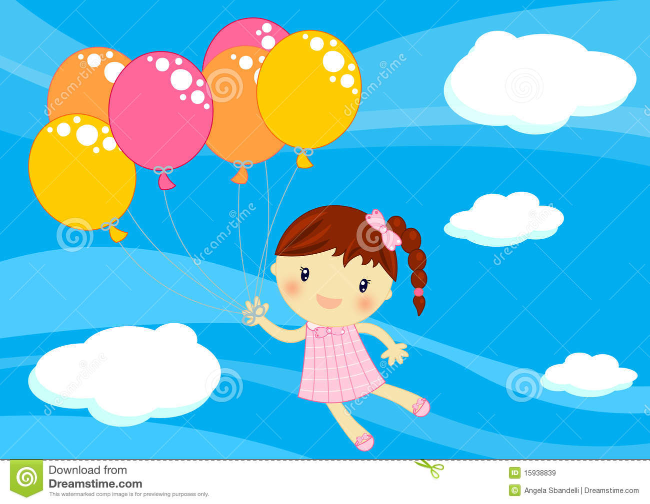 Little Girl Flying With Baloons Royalty Free Stock Images - Image