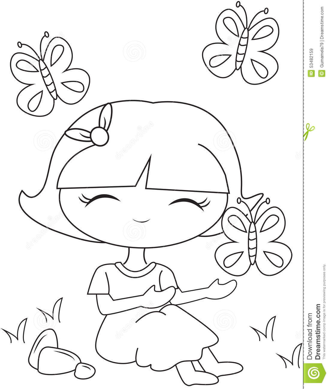 little with flying butterflies coloring page stock