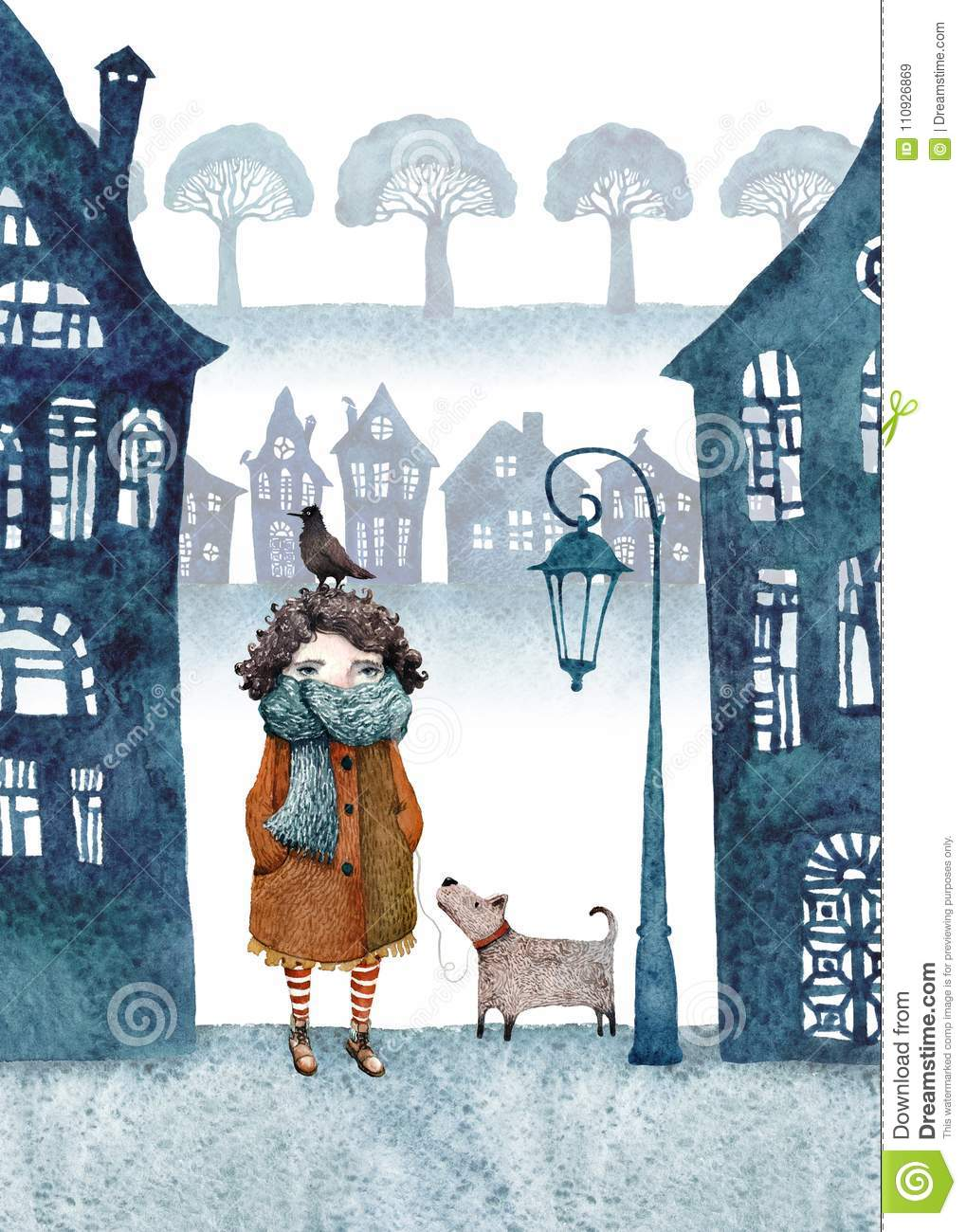 Little girl and her dog walking in a foggy town. Watercolor illustration.