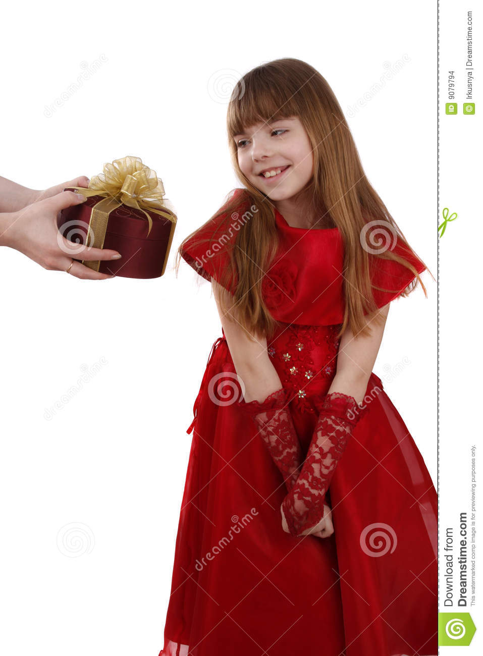Little Girl Is Getting Gift Girl Feels Shy Stock Images