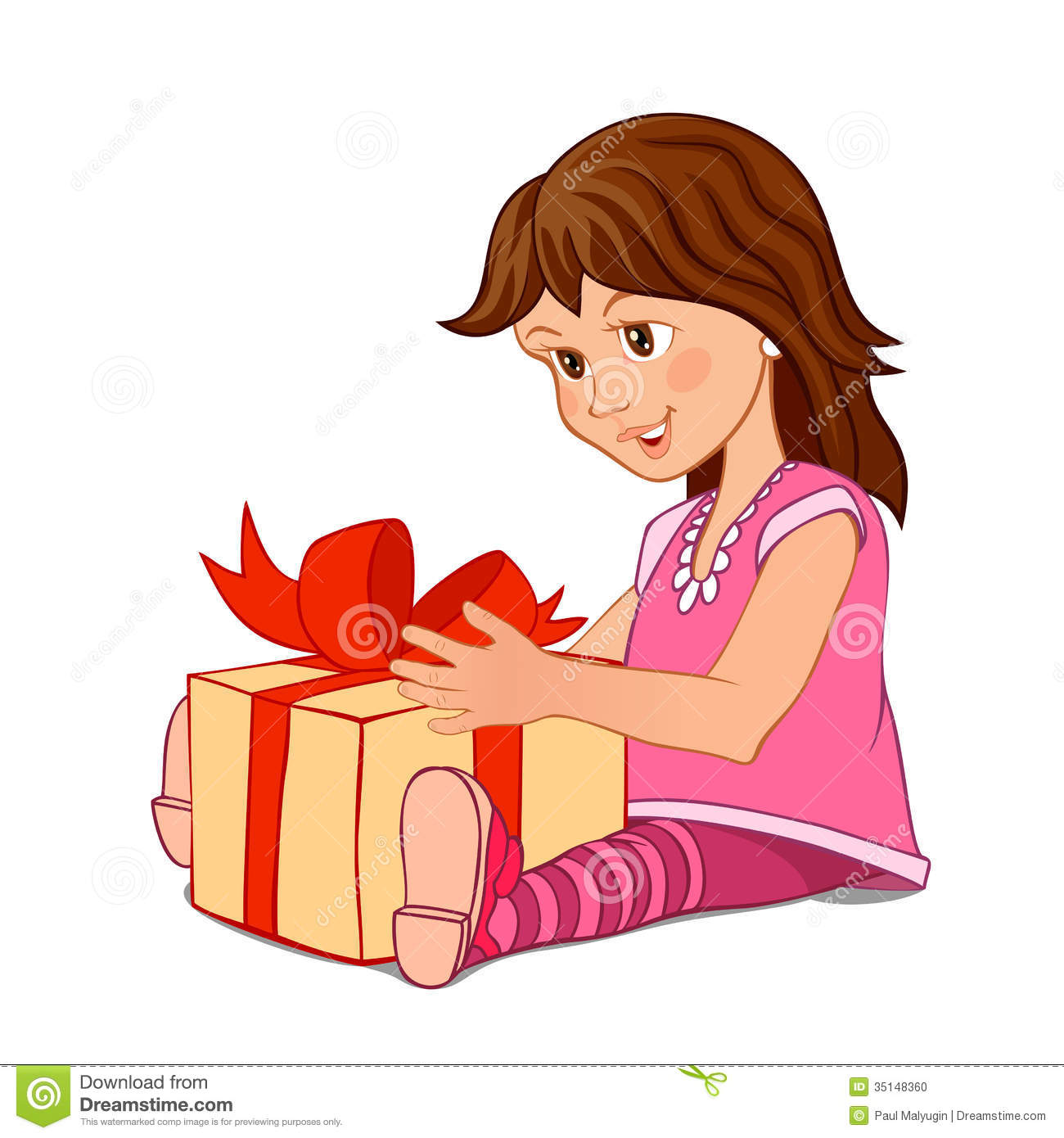 Little Girl With Gift Box Stock Vector Image Of Happy
