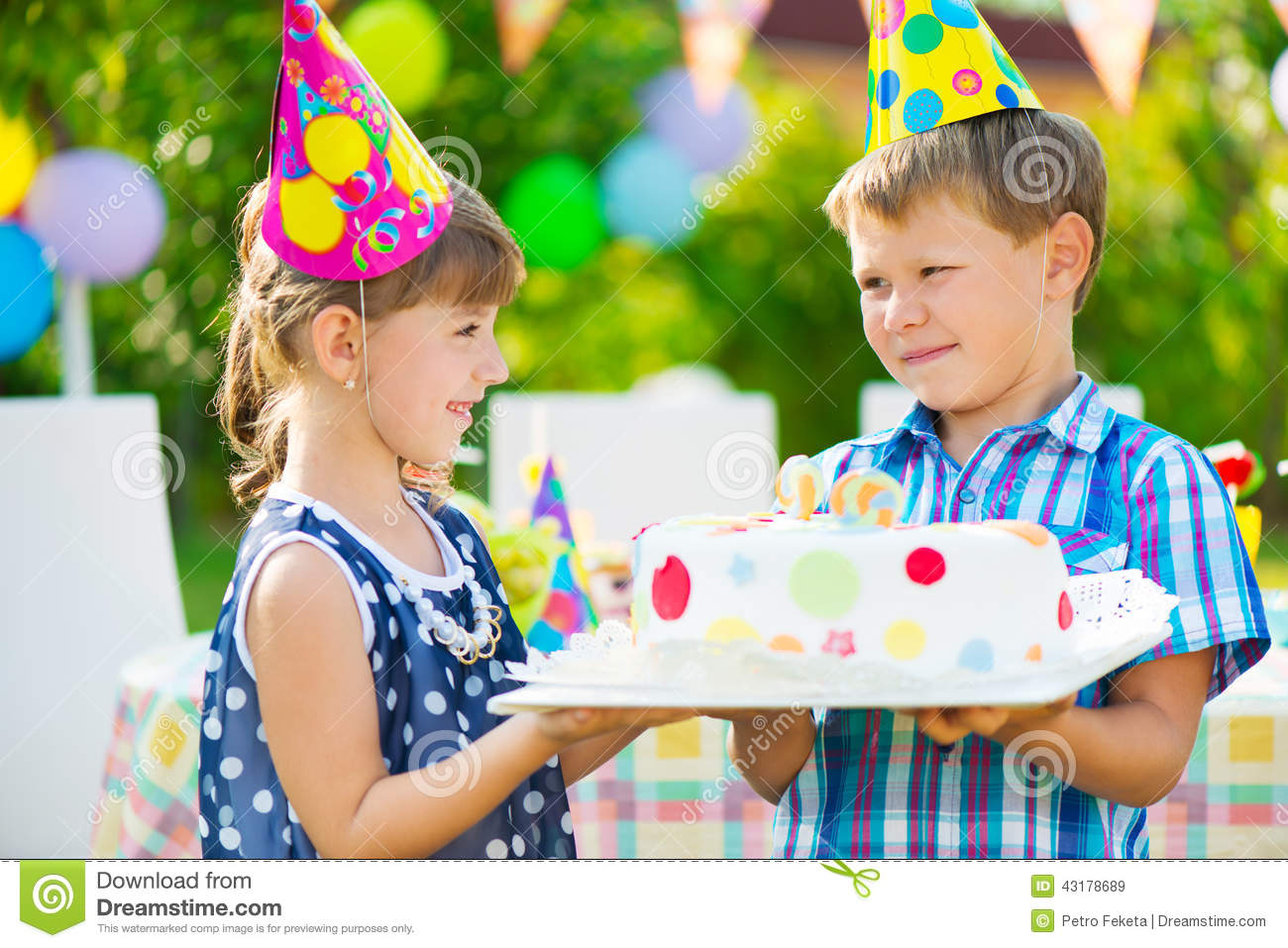 Little Girl Giving A Birthday Cake To A Friend Stock Image Image