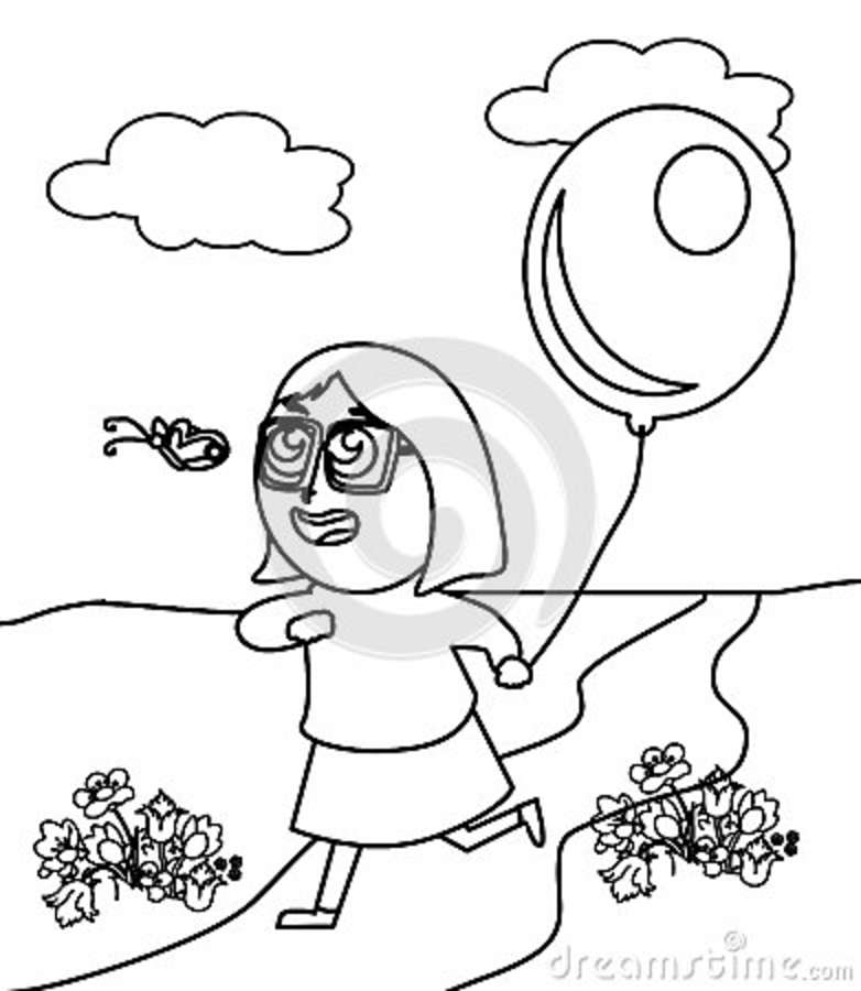 Little Girl With Glasses Catching A Butterfly Coloring Page Stock Rhdreamstime: Coloring Pages Butterfly Girl At Baymontmadison.com
