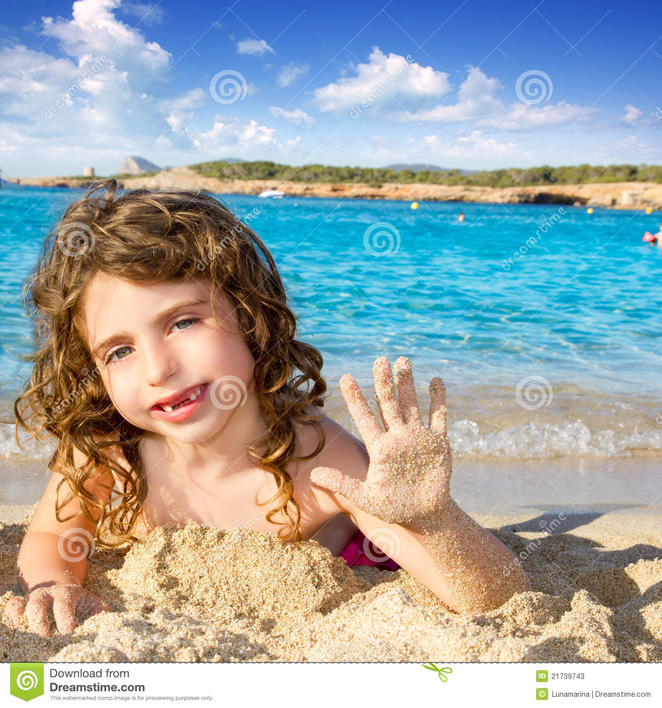 Sandy Beach: Little Girl Greeting Hand Gesture In Sandy Beach Stock