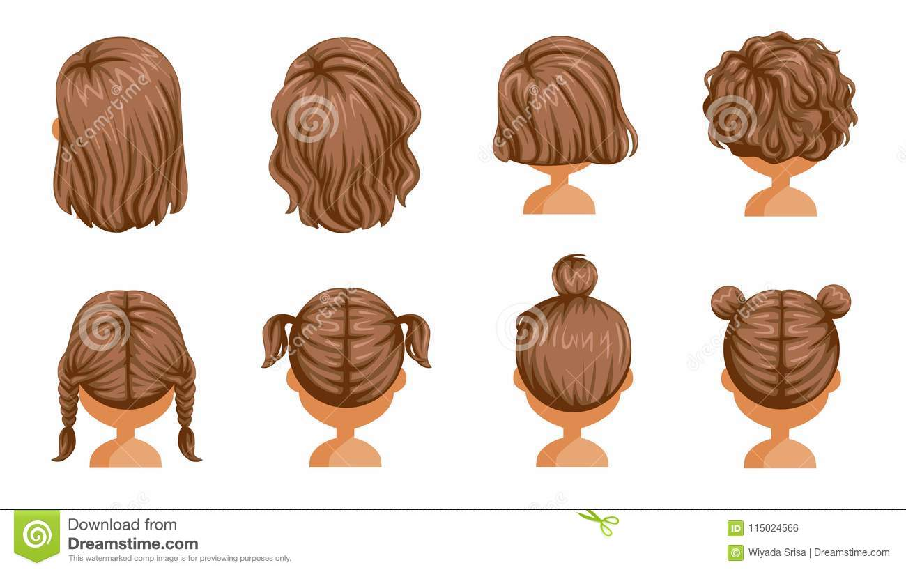Little Girl Hair Rear View Stock Vector Illustration Of