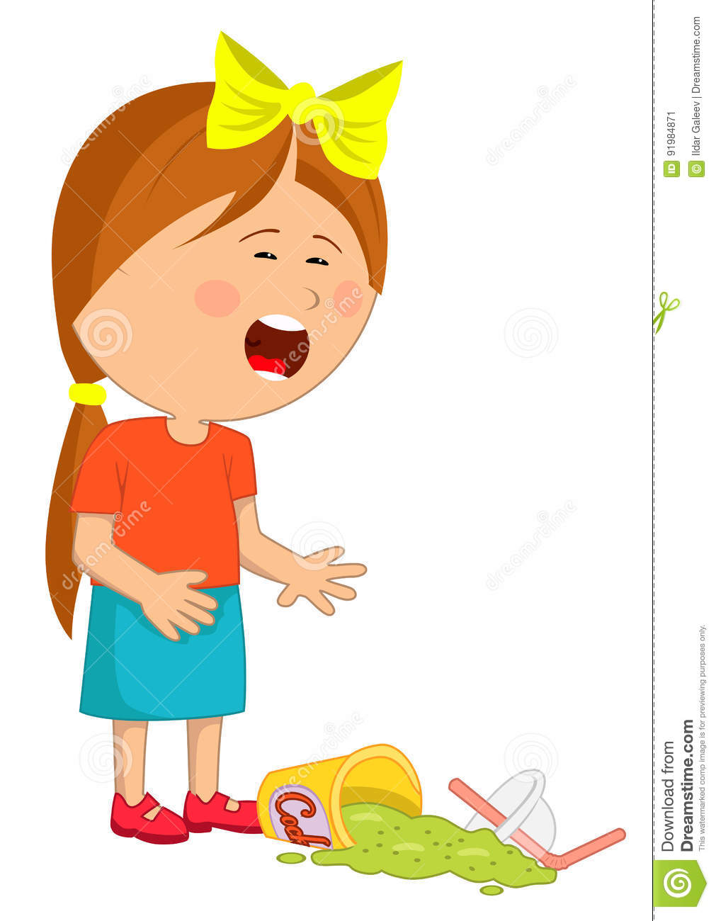 Girl With Dropped Down Panties Vector Illustration ...