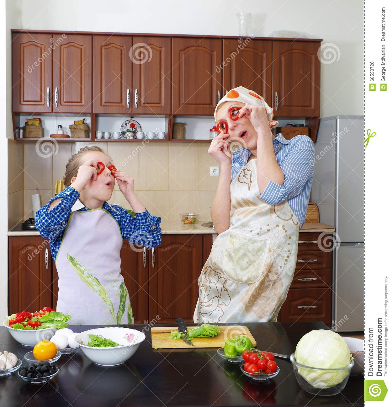 Little Girl Cooking With Her Mother Royalty Free Stock Image 11996968