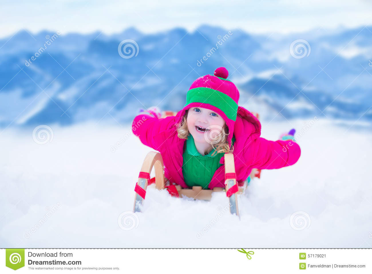 Little Girl Having Fun At Sleigh Ride Stock Image Image Of