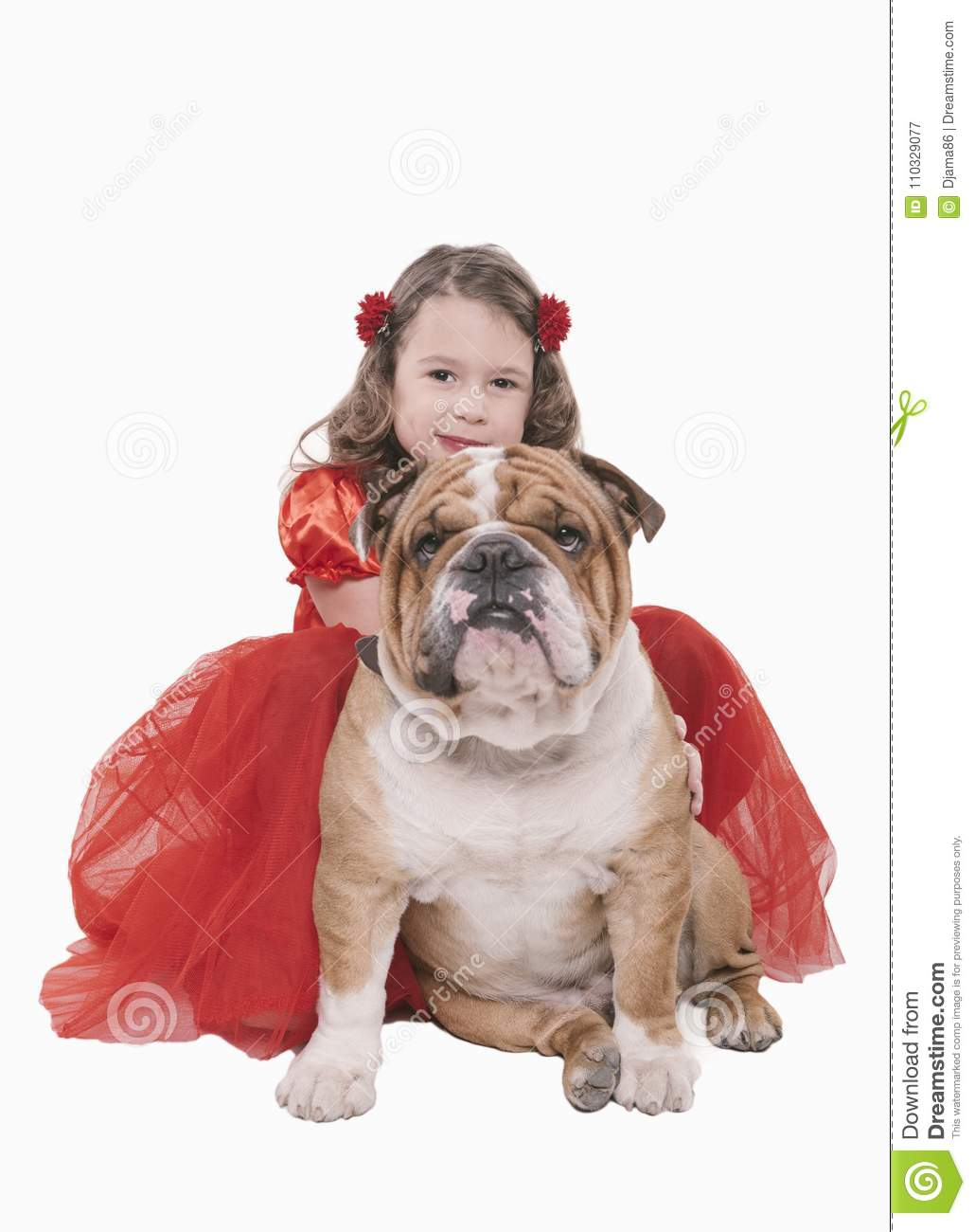 Little girl with her English bulldog