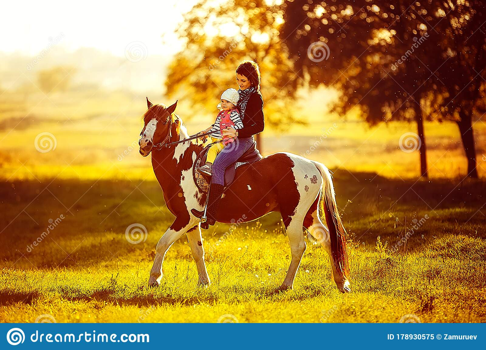 Mother And Daughter Riding A Horse Stock Image Image Of Ride Country 178930575
