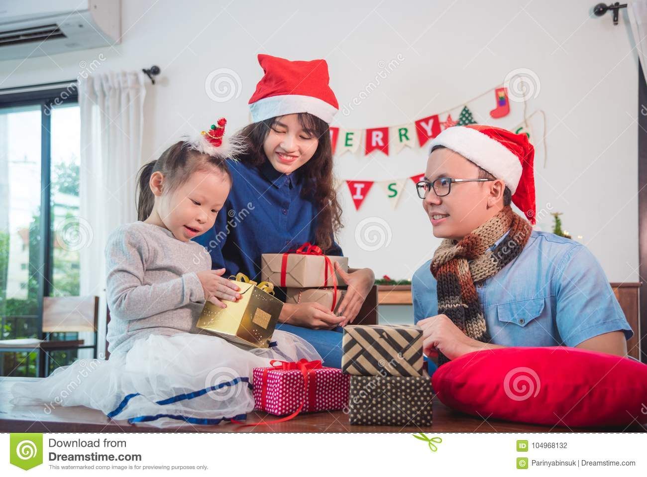download little girl and her parents open christmas gift boxes stock photo image of chinese - Chinese Open On Christmas