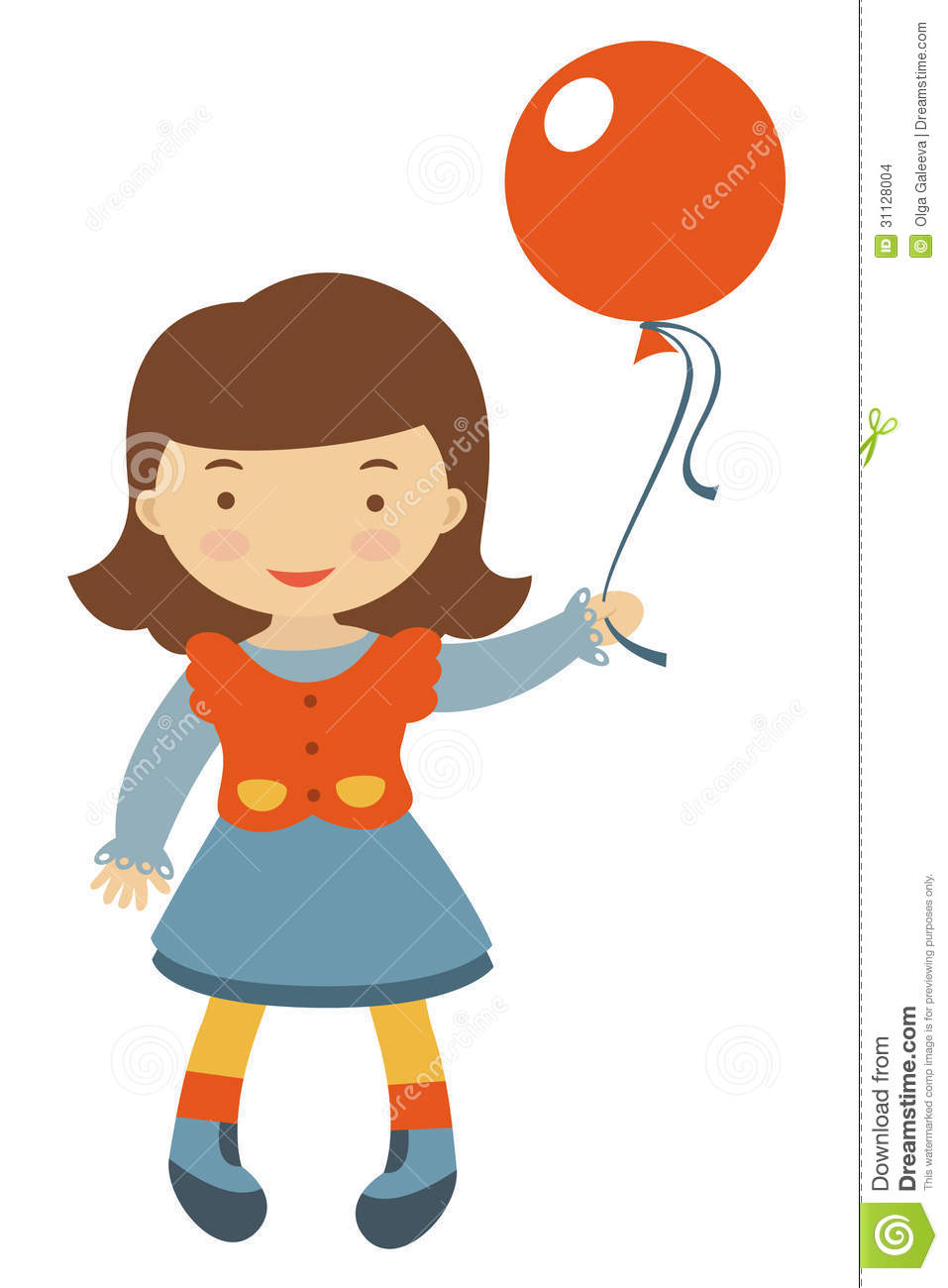 Little girl holding balloon stock images image 31128004