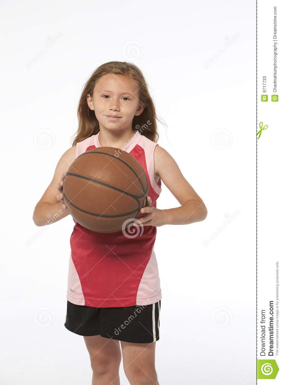 little girl holding basketball stock image image of smile game