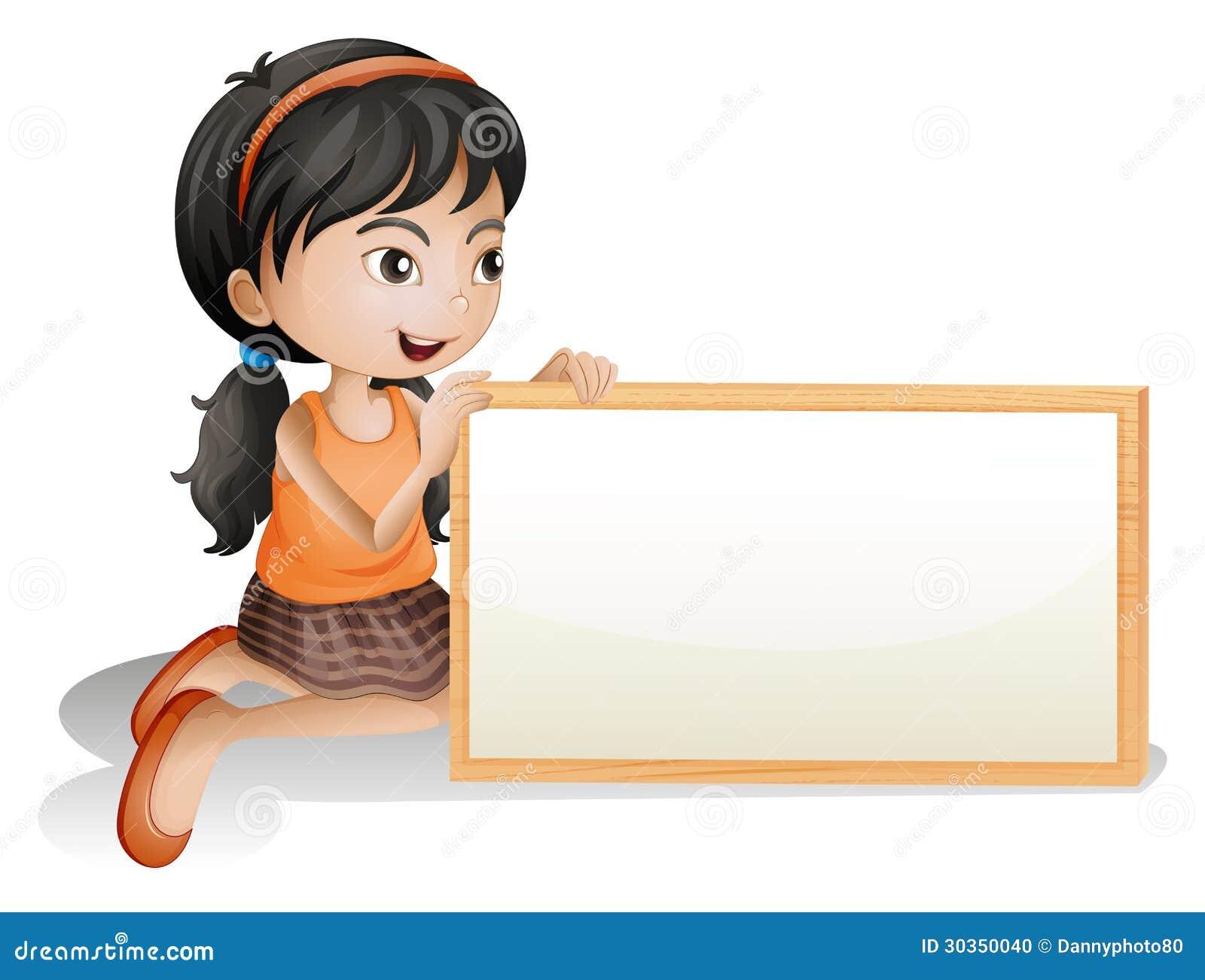 little girl holding blank sign template cartoon vector