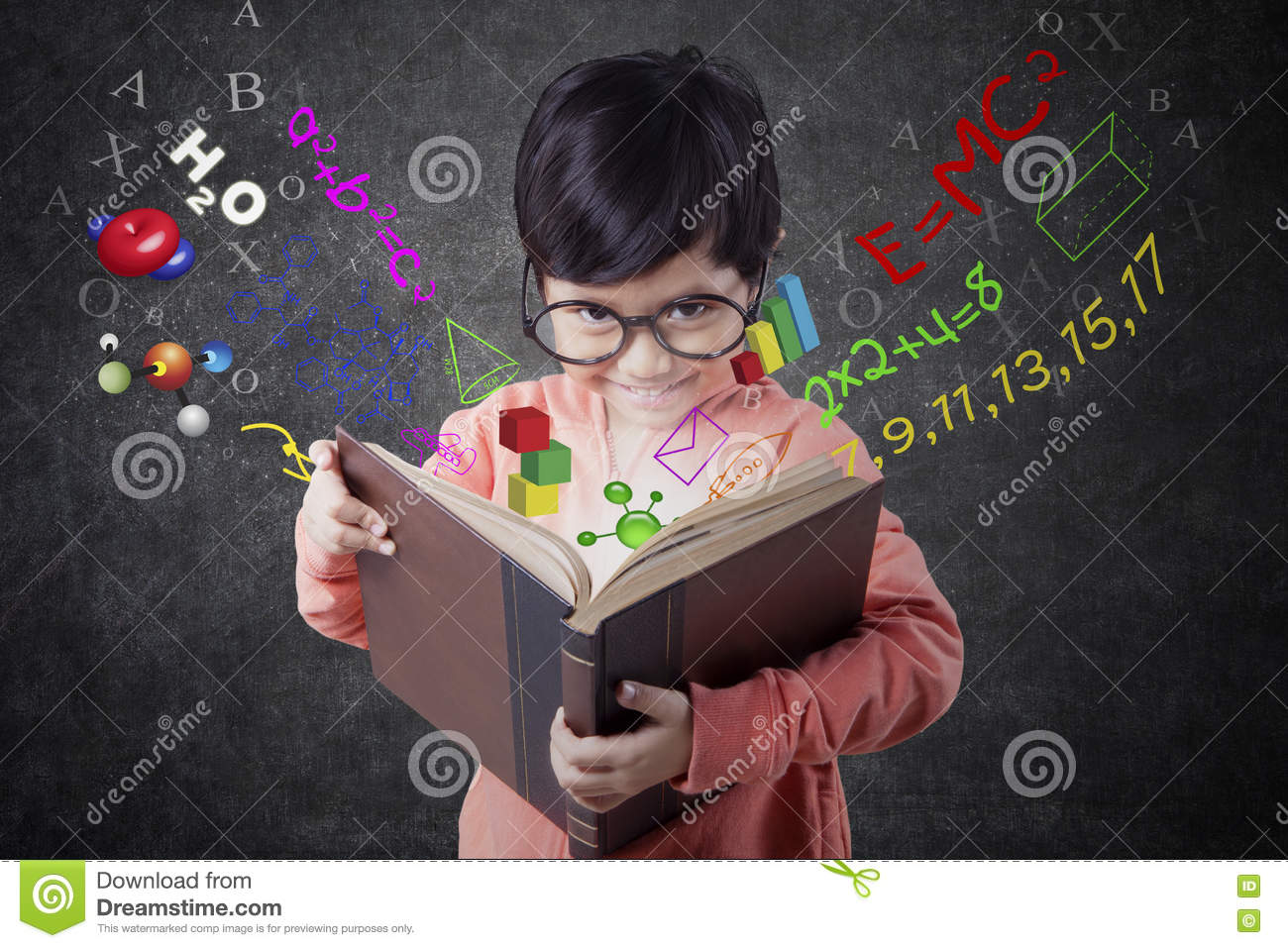 Little Girl Holding Book With Formula Stock Image - Image of