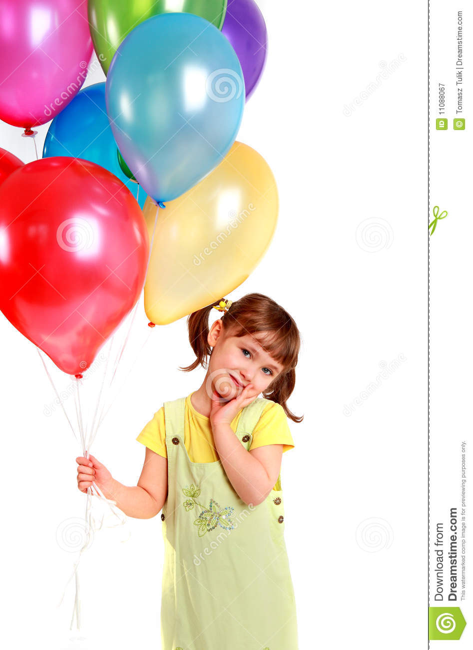 Little girl holding colorful balloons royalty free stock for What to do with balloons