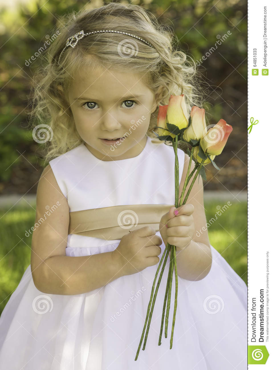 Little Girl Holding Flowers Stock Image Image Of Holding Field