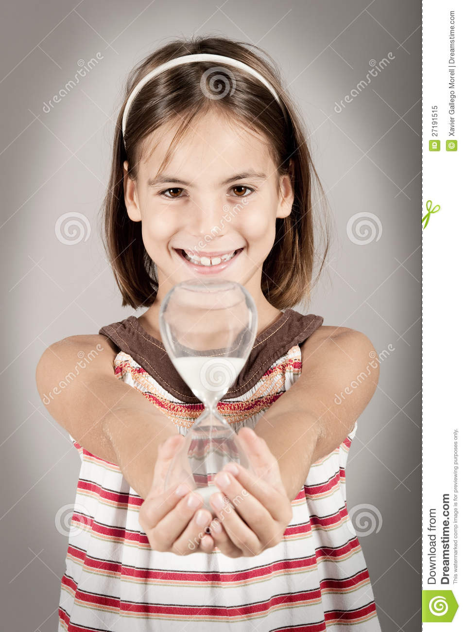 Business Woman Holding Hourglass Stock Image - Image of