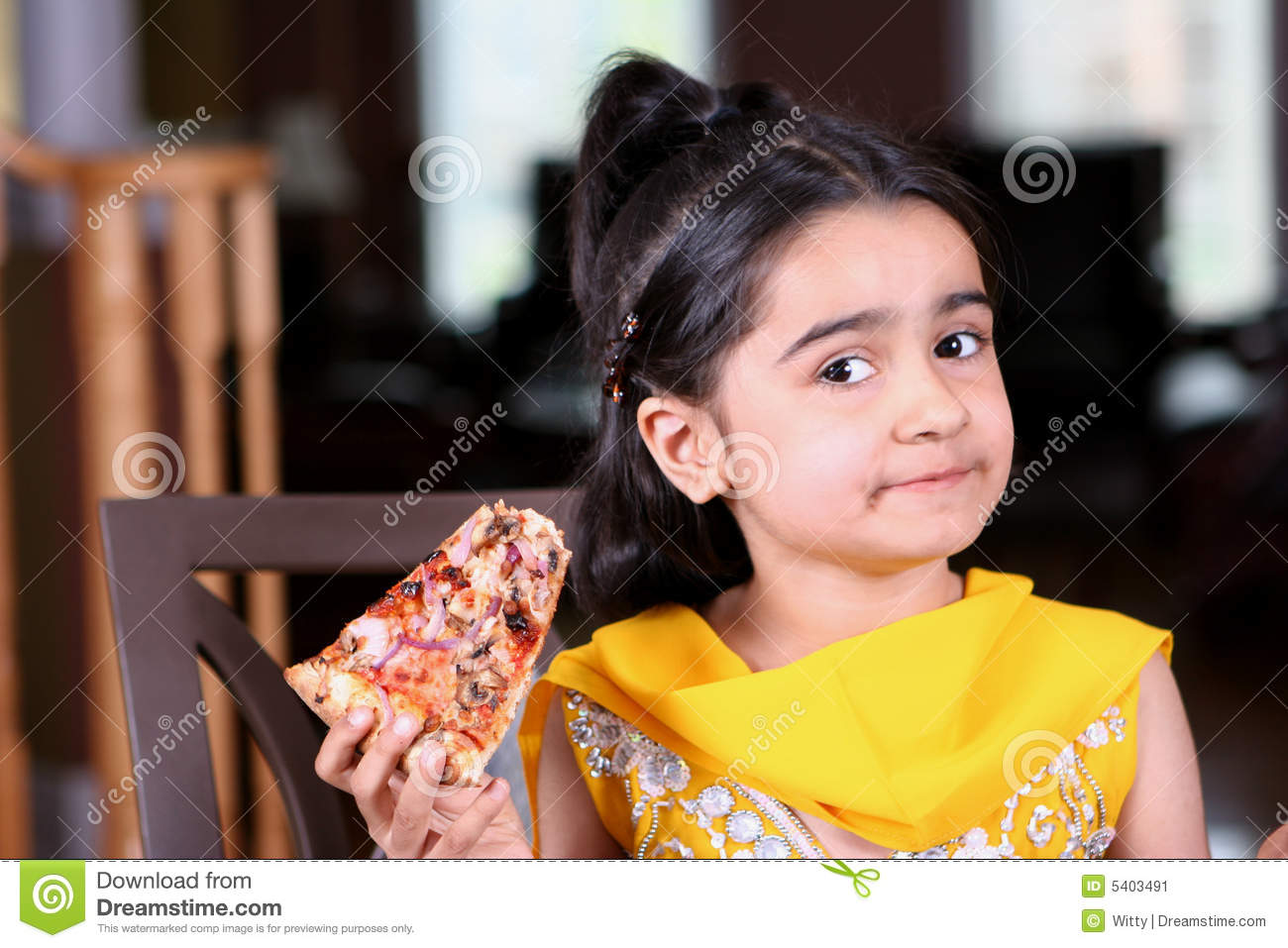 Little Girl Holding A Pizza Slice Stock Image Image 5403491