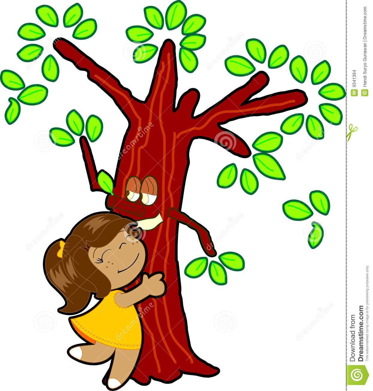 Little Girl Hug Tree Stock Images Image 9341394