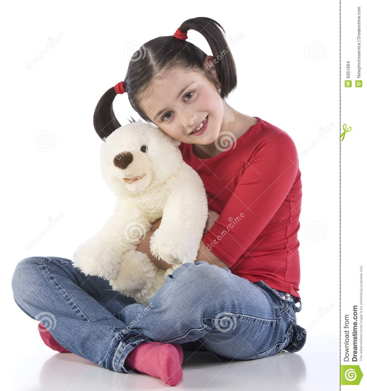Little Girl Is Hugging Big Teddy Bear Stock Images Image