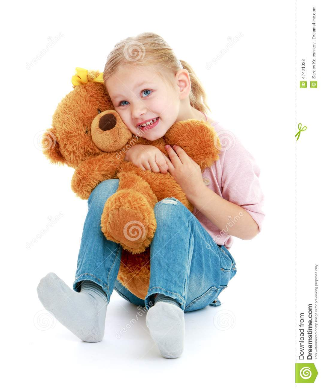 Little Girl Hugging A Teddy Bear. Stock Photo - Image of ...Little Girl With Teddy Bear Black And White