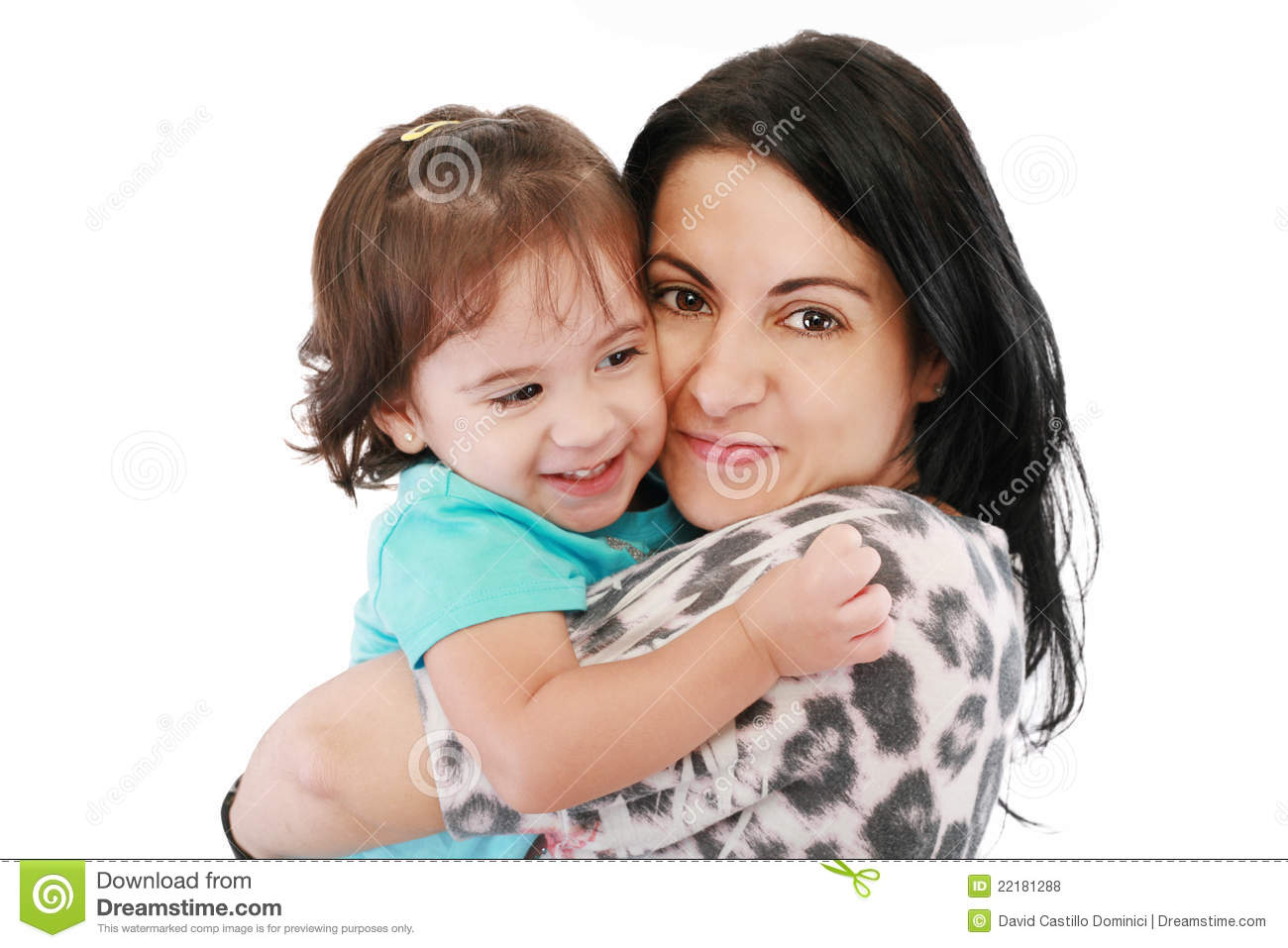 Little girl hugging to mother