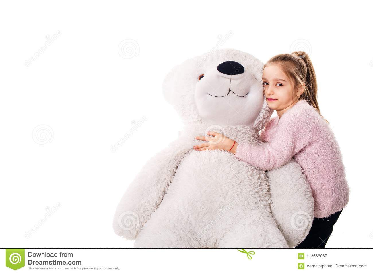 Little Girl And A Big White Teddy Bear. Stock Image ...Little Girl With Teddy Bear Black And White