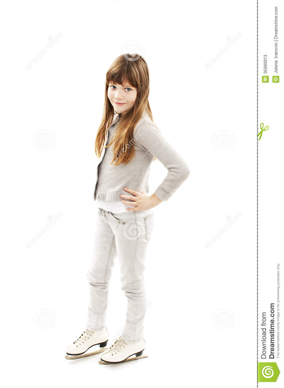 Little girl with ice skates