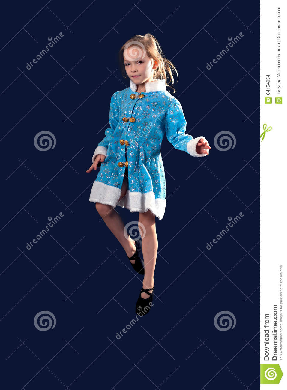 51d5e301 Little Girl Jumping In The Air In The Blue Dress. Stock Photo ...