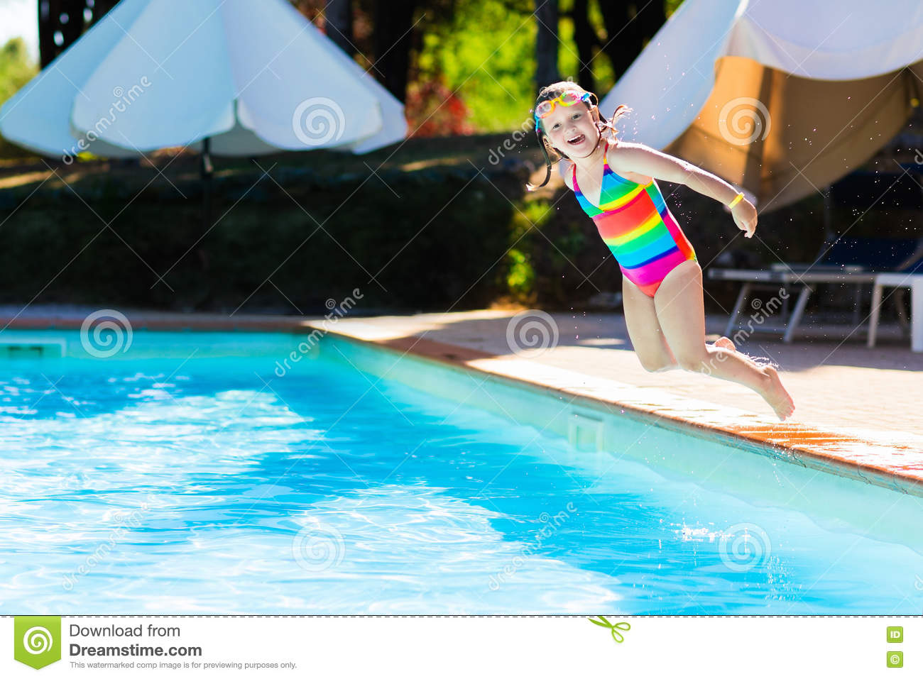 Little Girl Jumping Into Swimming Pool Stock Image Image 76618229