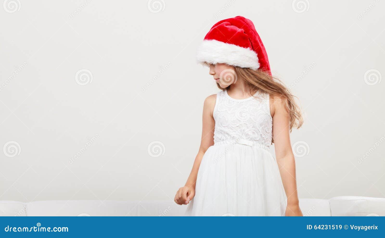 Little Girl Kid In Santa Hat