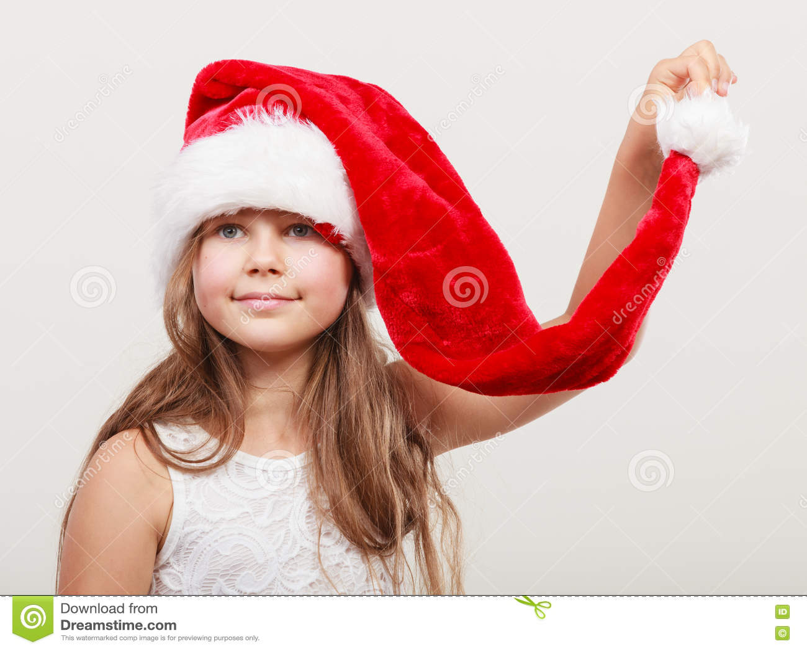 120996334b8e1 Little Girl Kid In Santa Claus Hat. Christmas. Stock Image - Image ...