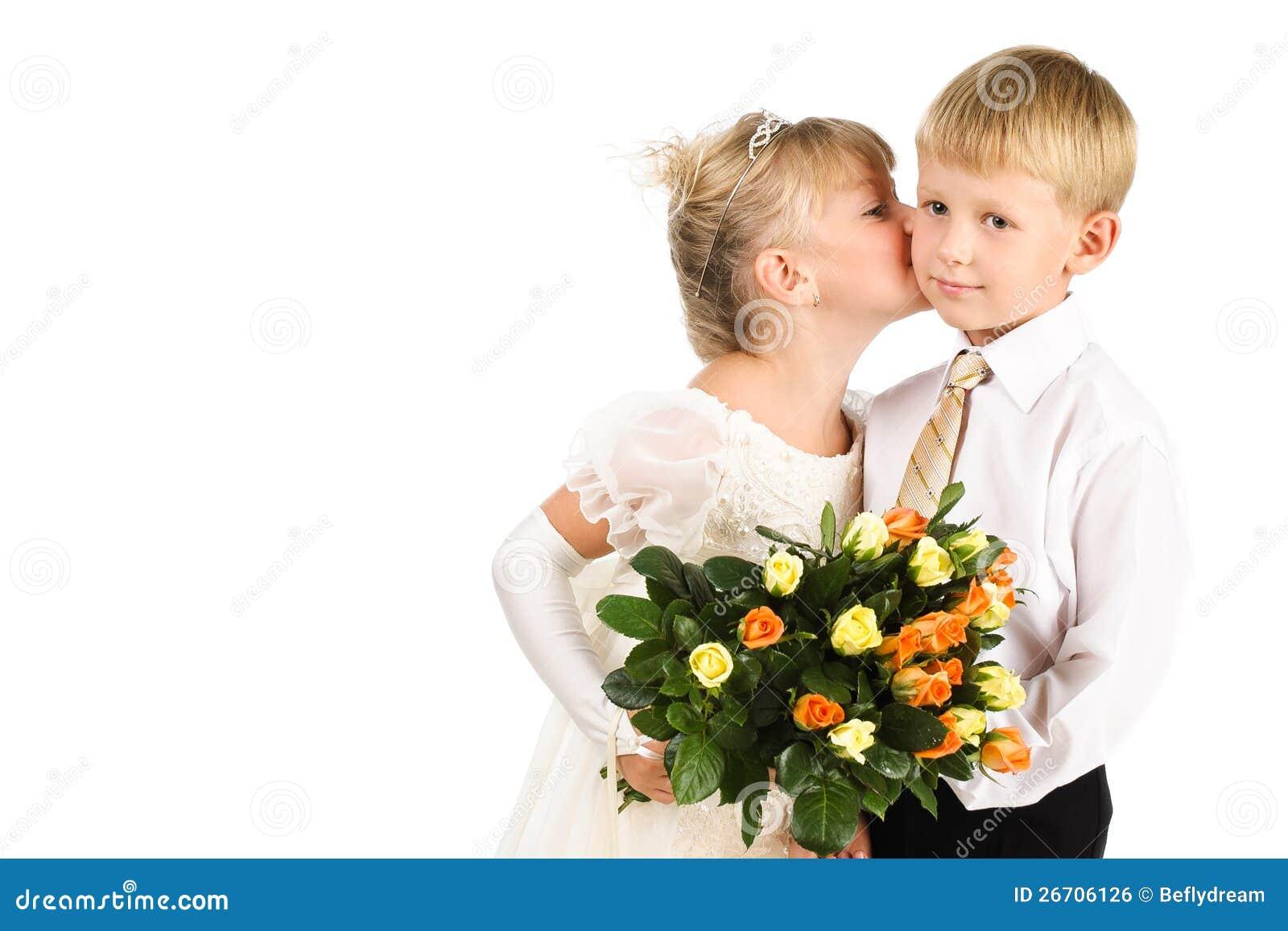 Little Girl Kissing A Boy Formal Studio Shot Stock Photo Image Of