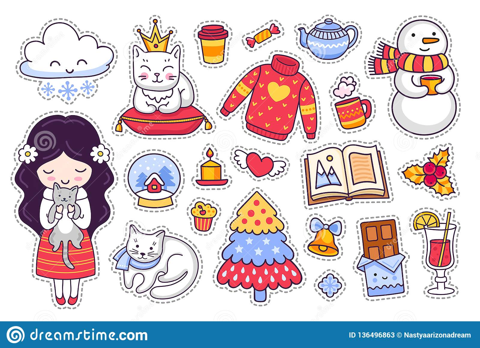 Little girl with kitten and cat chocolate book sweater snowman set of cartoon winter stickers patches and pins doodle style vector illustration