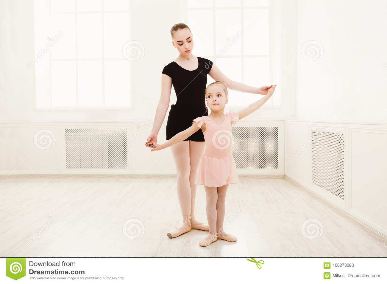 fcd8d1e469eb Little Girl Learn Ballet With Teacher Copy Space Stock Image - Image ...