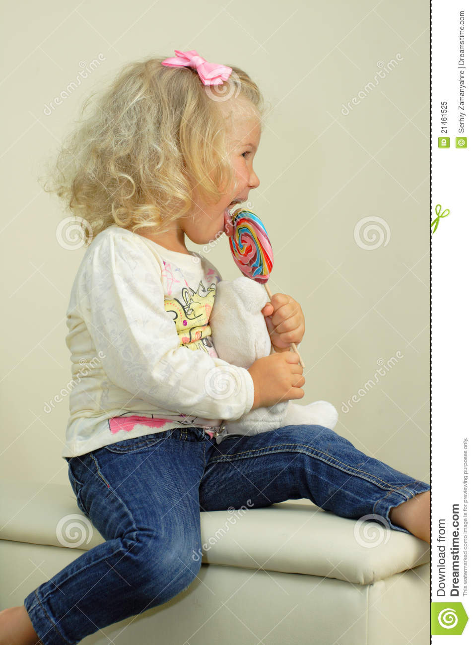 35a29d5c1 Little girl with lollipop stock image. Image of happiness - 21461525