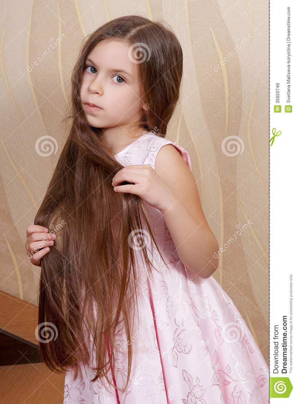 Little Girl With A Long Hair Royalty Free Stock Image